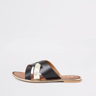 Ravel River Island Womens Black leather cross over Mule sandal