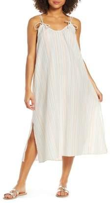 Madewell Rainbow Stripe Tie Strap Cover-Up Maxi Dress