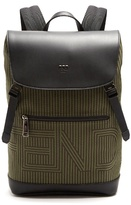 Fendi Optical-striped Canvas And Leather Backpack