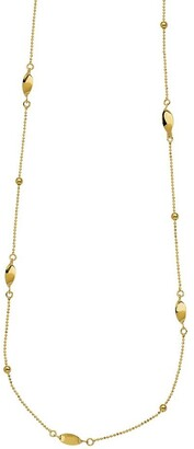"""Curata 14k Yellowor White Gold Diamond-cut Ball and Bead Station Necklace, 17"""""""