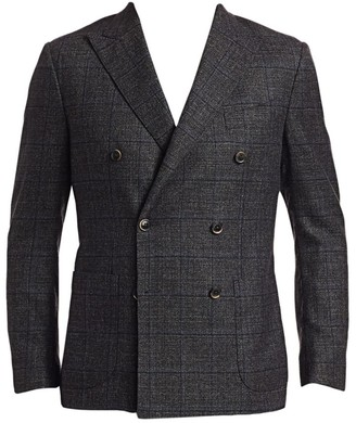 Saks Fifth Avenue COLLECTION Double-Breasted Muted Plaid Basketweave Sportcoat