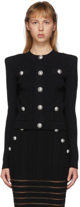 Balmain Black Knit Button Cardigan