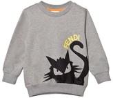 Fendi Grey Branded Cat Print Sweatshirt