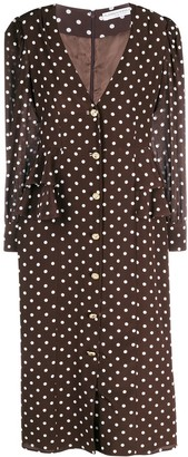 Alessandra Rich Polka Dot Button-Through Midi Dress