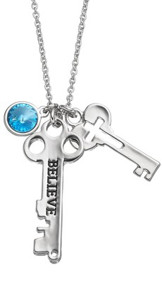 """Charming Inspirations """"Believe"""" Key Charm Necklace"""