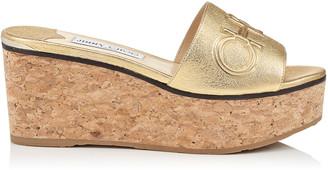 Jimmy Choo DEEDEE 80 Gold Washed Metallic Nappa Leather Wedge Sandal with Embossed Logo
