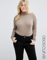 Asos Sweater with Roll Neck in Recycled Rib