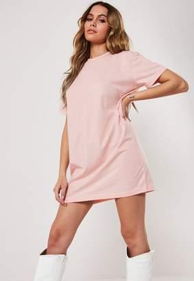 Missguided Petite Pink Basic T Shirt Dress