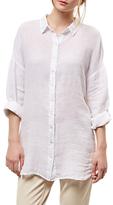 Jaeger White Linen Gauze Shirt, White