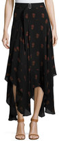 A.L.C. Claudio Silk Dahlia Midi Skirt, Black/Brown