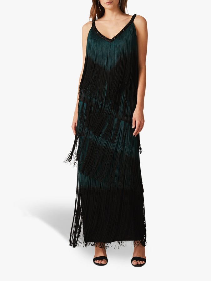 Phase Eight Tina Tassel Maxi Dress, Black/Forest