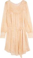 See by Chloe Belted printed silk-georgette dress