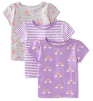 Garanimals Baby Girl Solid Crewneck T-Shirts, 3pk