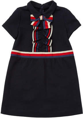 Gucci Girls' Short-Sleeve Collared Dress w/ Ribbon Detail, Size 4-12