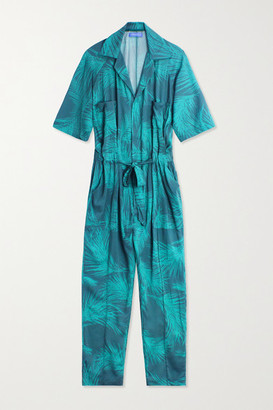 PARADISED Apres Belted Printed Voile Jumpsuit - Emerald