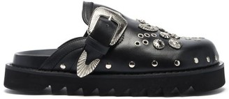 Toga Studded Leather Clogs - Black