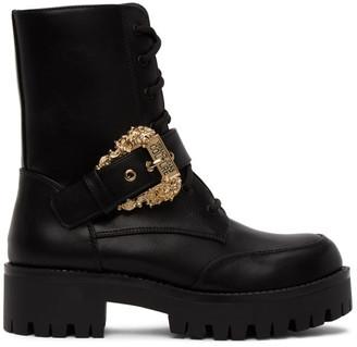 Versace Black Baroque Combat Boots