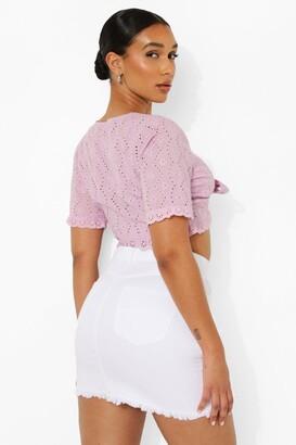 boohoo Asymmetric Distressed Denim Mini Skirt