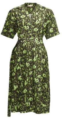 Marni Floral-print Cotton-blend Shirtdress - Womens - Green Multi
