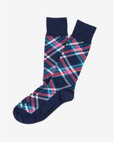 Express multi color plaid dress socks