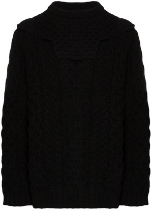 Raf Simons Aran cable knit layered jumper