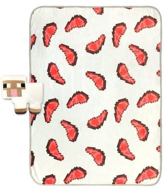 Minecraft Small Sheep Shaped Pillow and Mutton Throw Set
