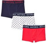 Mayoral Navy, Red and Patterned Pack of 3 Trunks