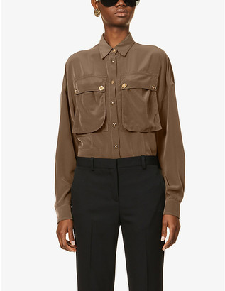 Versace Gold-tone button satin-crepe shirt