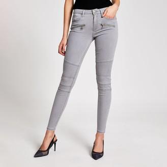 River Island Womens Light Grey skinny zip front biker jeans