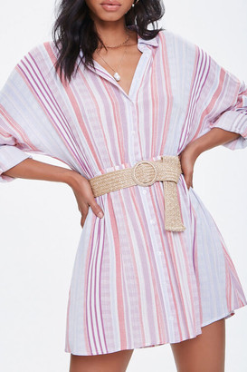 Forever 21 Striped Mini Shirt Dress