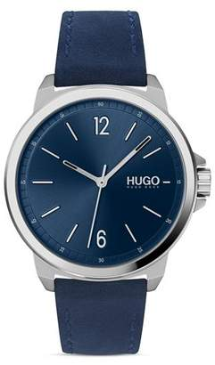 HUGO #LEAD Blue Leather Strap Watch, 42mm