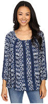Lucky Brand Printed Knit and Lace Top