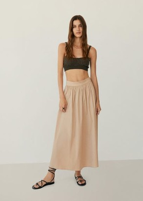 MANGO Flared long skirt beige - S - Women