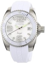Invicta Women's 1057 Angel Collection Crystal Accented Mother-of-Pearl Dial White Polyurethane Watch