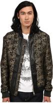 Just Cavalli Jacquard Bomber w/ Leather Trim