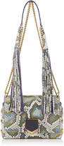 Jimmy Choo LOCKETT PETITE Natural Irisdescent Painted Python Shoulder Bag with Tassel Shoulder Strap