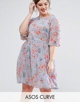 Asos PREMIUM Pretty Skater Dress with Fluro Floral Embroidery