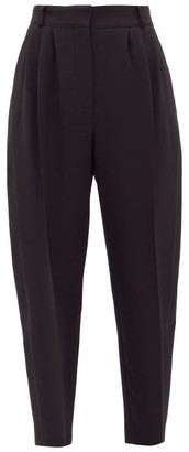 Alexander McQueen Copped Satin Side-panelled Trousers - Womens - Black