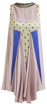 Valentino Floral-jacquard Panelled Dress - Womens - Pink Multi