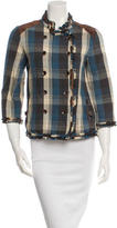 Elizabeth and James Leather-Trimmed Plaid Blazer