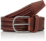 Barneys New York Men's Braided Leather Belt-TAN