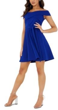 Quiz Off-The-Shoulder Fit & Flare Dress