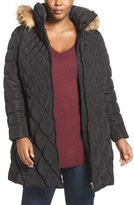 Jessica Simpson Quilted Puffer Coat with Faux Fur Trim (Plus Size)