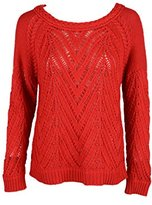 Townsen Womens Crimson Red Wide Neck Open Knit Cropped Sweater