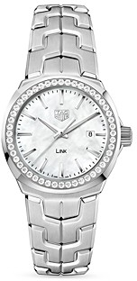Tag Heuer Link Mother-Of-Pearl and Diamond Bezel Watch, 32mm