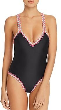 Solange Platinum Inspired By Ferrarini Platinum Crochet-Trim One Piece Swimsuit - 100% Exclusive