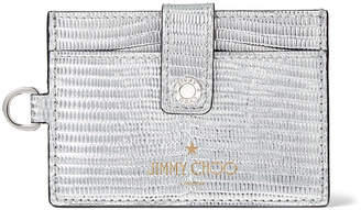 Jimmy Choo KYO Silver Metalized Lizard Print Leather Card Holder