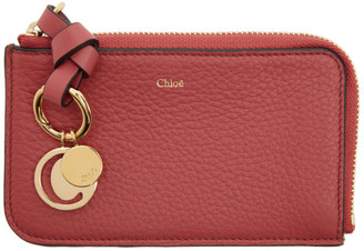 Chloé Pink Alphabet Zip Card Holder