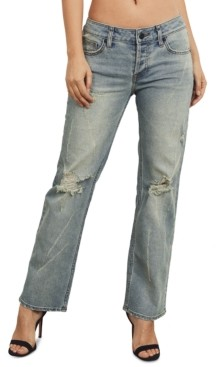 KENDALL + KYLIE Juniors Distressed Straight-Leg Cotton Jeans