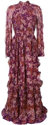 Giambattista Valli floral ruffle detail maxi dress